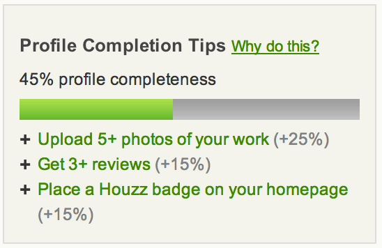 Houzz Profile Minimum Requirements